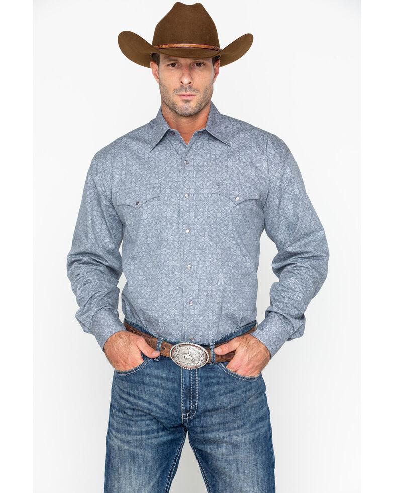 Stetson Men's Grey Floral Print Long Sleeve Western Shirt, Grey, hi-res