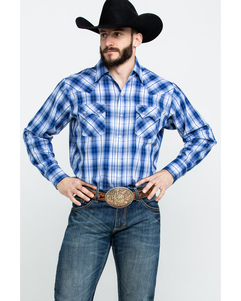 Ely Cattleman Men's Assorted Textured Dobby Plaid Long Sleeve Western Shirt , Blue, hi-res