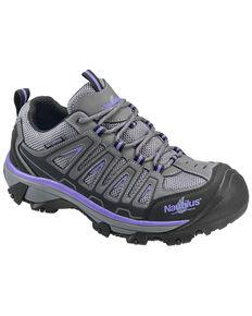 Nautilus Women's Grey and Purple Waterproof Low-Top Work Shoes - Steel Toe , Grey, hi-res