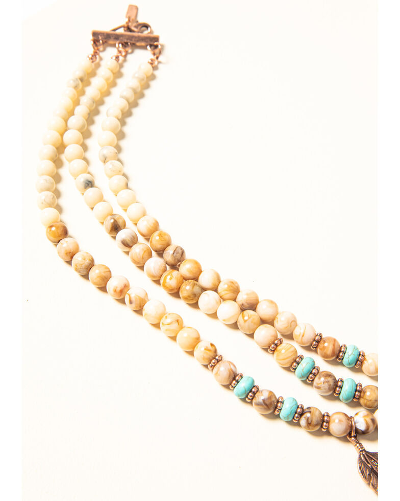 Shyanne Women's Desert Dreams Multi Beaded Feather Necklace, Rust Copper, hi-res
