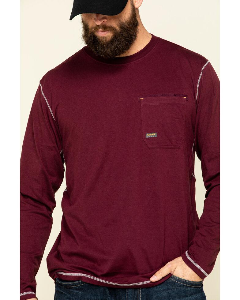 Ariat Men's Malbec Rebar Workman Pocket Logo Long Sleeve Work T-Shirt - Big , Red, hi-res