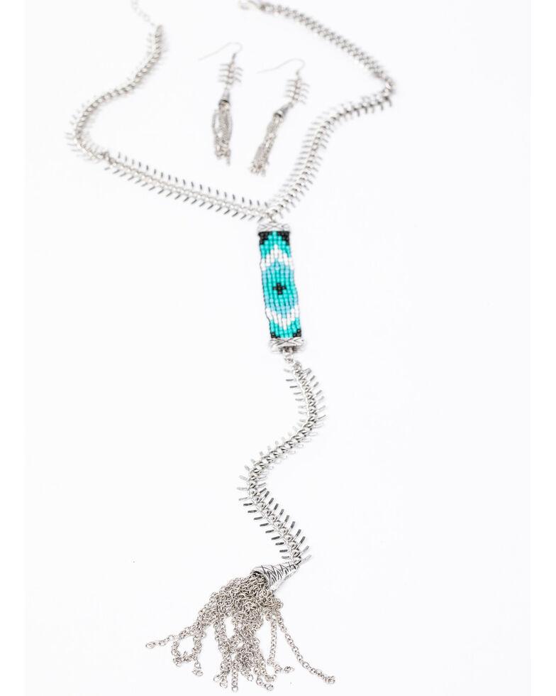 Shyanne Women's Isla Jane Peyote Fishtail Y-Necklace Set, Silver, hi-res