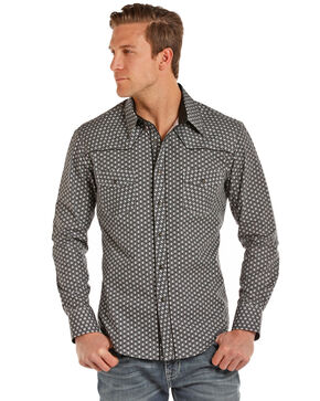 Rock & Roll Cowboy Men's Poplin Geo Print Long Sleeve Shirt , Charcoal, hi-res