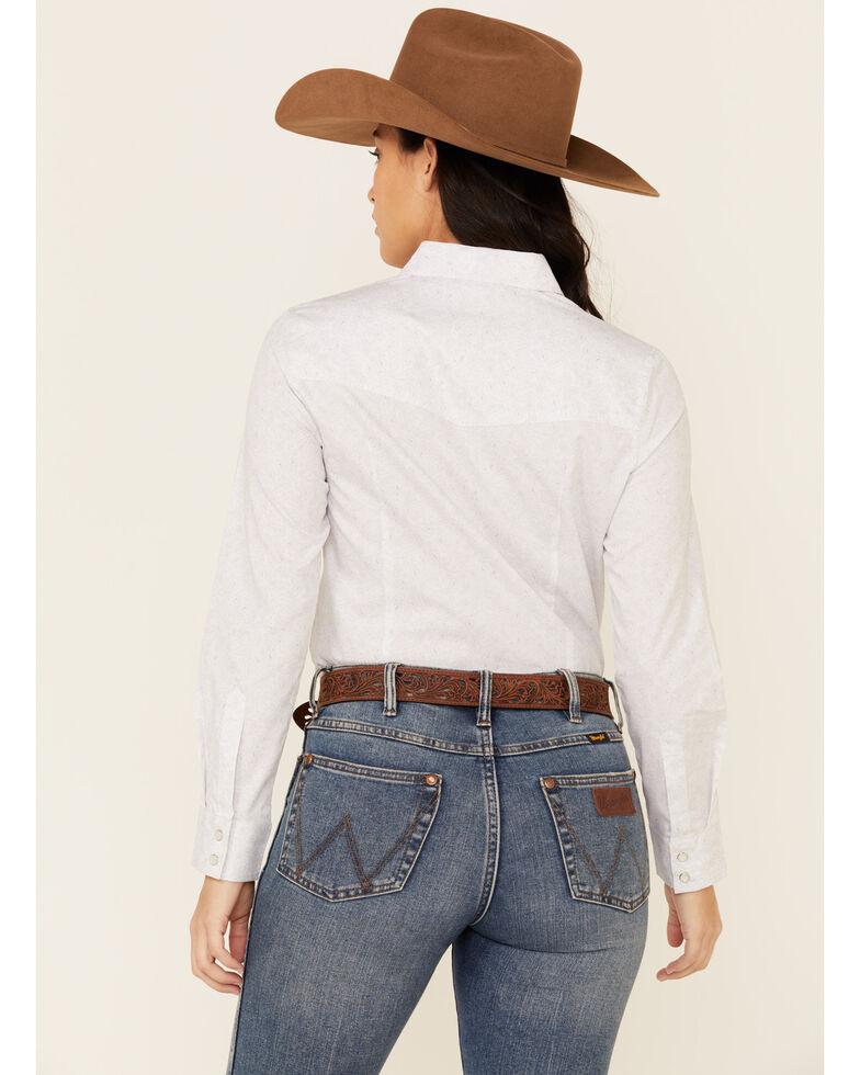 Ely Walker Women's White Paisley Print Long Sleeve Snap Western Shirt , White, hi-res