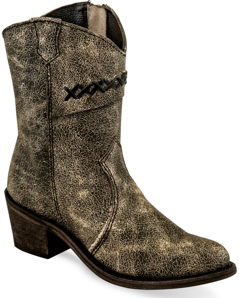 Old West Girls' Charcoal Distressed Leather Booties - Medium Toe , Charcoal, hi-res