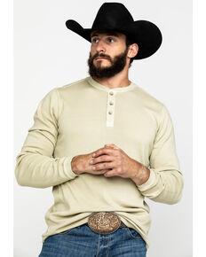Cody James Men's Tan Flatback Rib Henley Long Sleeve Shirt , Tan, hi-res