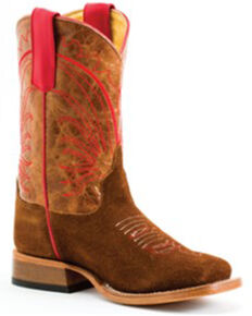 Anderson Bean Girls' Tobacco Roughout Western Boot - Square Toe , Tan, hi-res