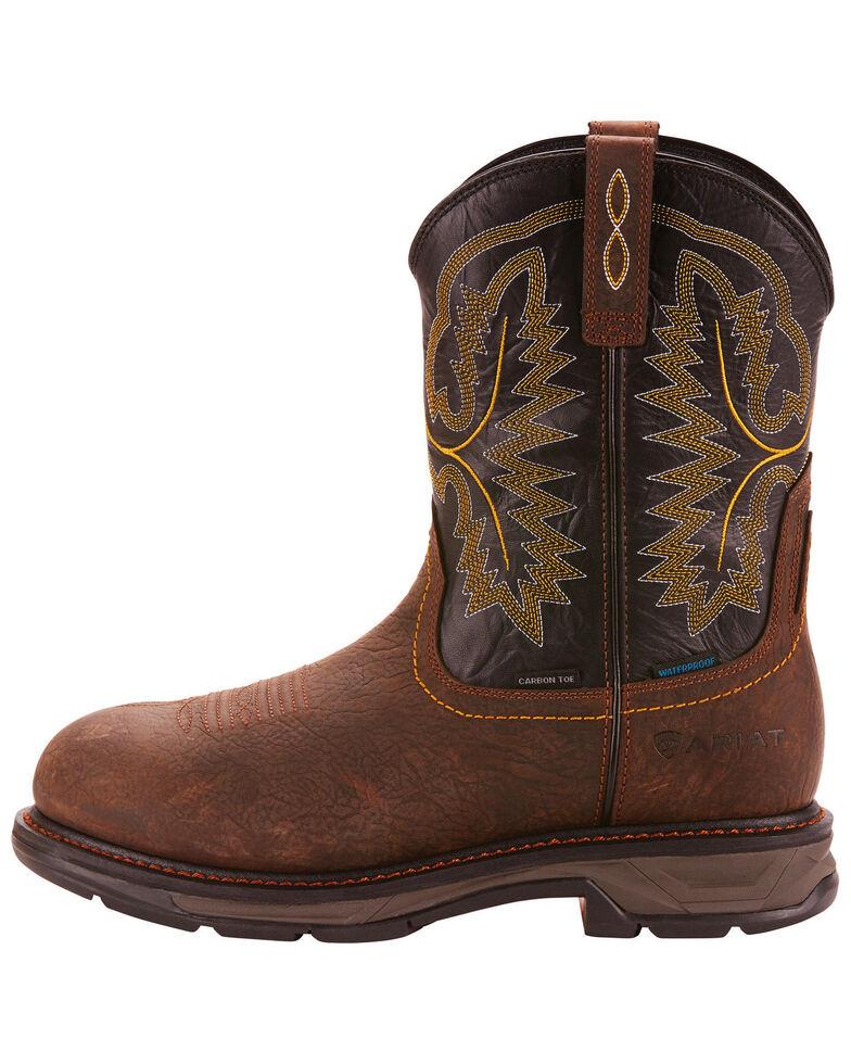 Ariat Men's Dark Brown Waterproof Workhog XT Pull-On Boots - Carbon Toe , Brown, hi-res