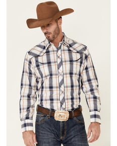 Roper Men's Classic Large Plaid Star Embroidered Long Sleeve Snap Western Shirt , Navy, hi-res