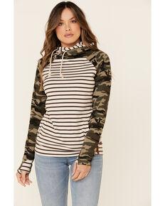 Ampersand Avenue Women's Contrast Camo Striped Hooded Sweatshirt , Camouflage, hi-res