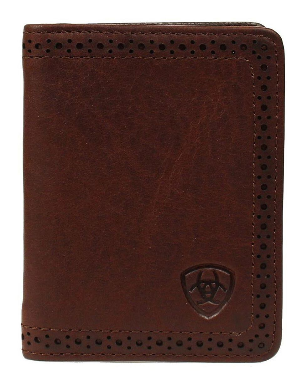 Ariat Perforated Edge Embossed Logo Bi-fold Wallet, , hi-res