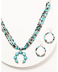 Shyanne Women's Silver & Turquoise Multi-strand Beaded Squash Blossom Jewelry Set, Silver, hi-res