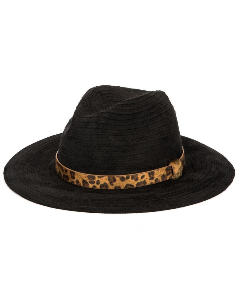 San Diego Hat Company Women's Faux Suede Leopard Band Fedora Hat , Black, hi-res
