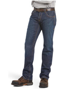Ariat Men's Dark Wash Shale Low Rise Straight Work Jeans - Big, Indigo, hi-res