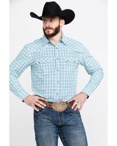 Cody James Men's Grand City Small Plaid Long Sleeve Western Shirt - Big , Turquoise, hi-res