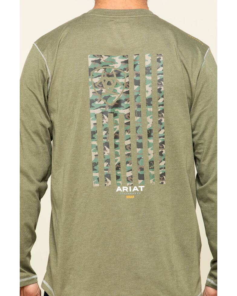 Ariat Men's Sage Heather Rebar Workman Camo Flag Graphic Long Sleeve Work T-Shirt , Sage, hi-res