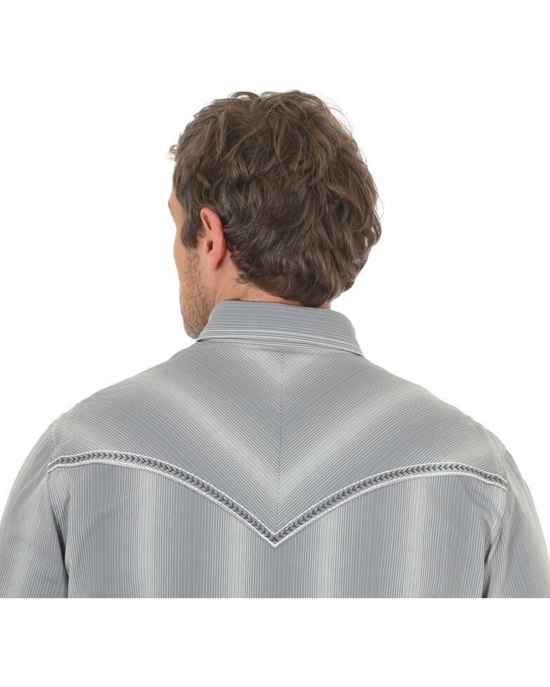 Rock 47 by Wrangler Men's Vertical Stripe Long Sleeve Snap Shirt, Grey, hi-res