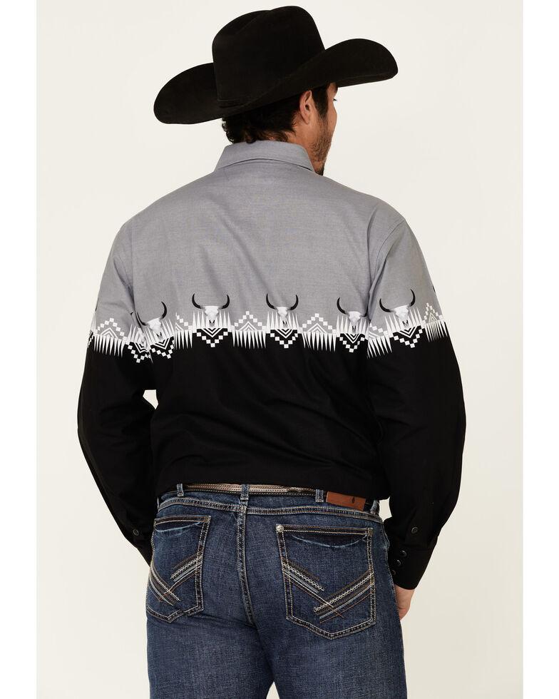 Panhandle Men's Black Buffalo Border Print Long Sleeve Western Shirt , Black, hi-res