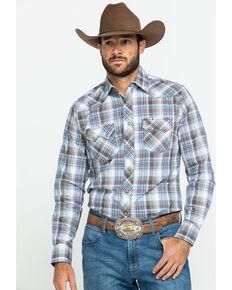 Wrangler Retro Men's Brown Plaid Long Sleeve Western Shirt - Tall , Brown, hi-res