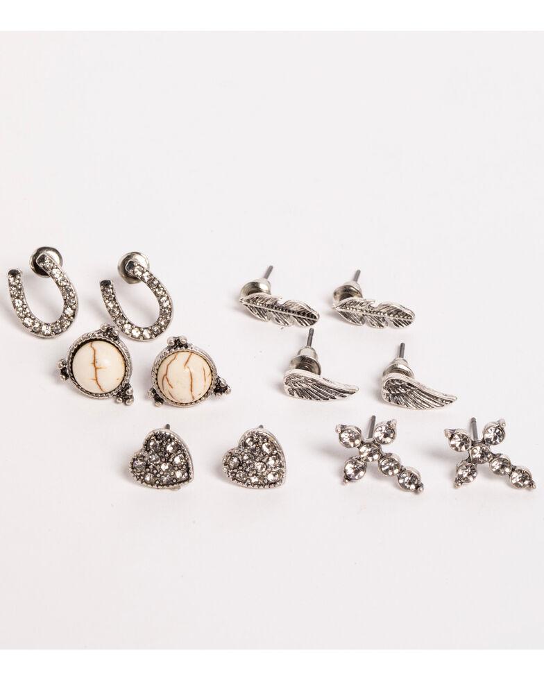 Shyanne Women's 6 Piece Earring Set , Silver, hi-res