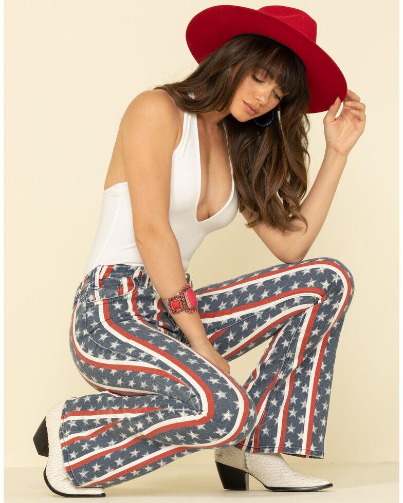 Rock & Roll Cowgirl Women's Star & Stripe Flare Jeans , Multi, hi-res