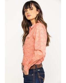 Cinch Women's PCH Paisley Print Snap Long Sleeve Western Shirt, Peach, hi-res