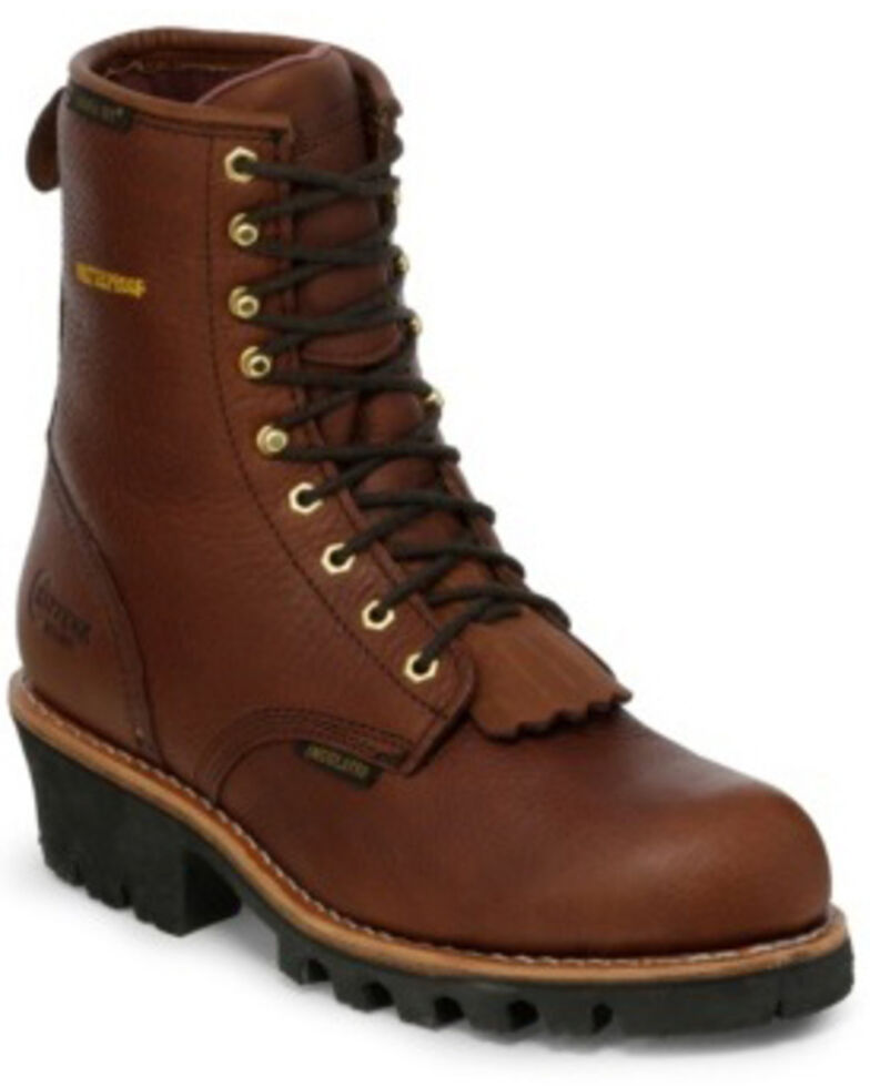 """Chippewa Insulated Waterproof 8"""" Logger Boots - Round Toe, Briar, hi-res"""