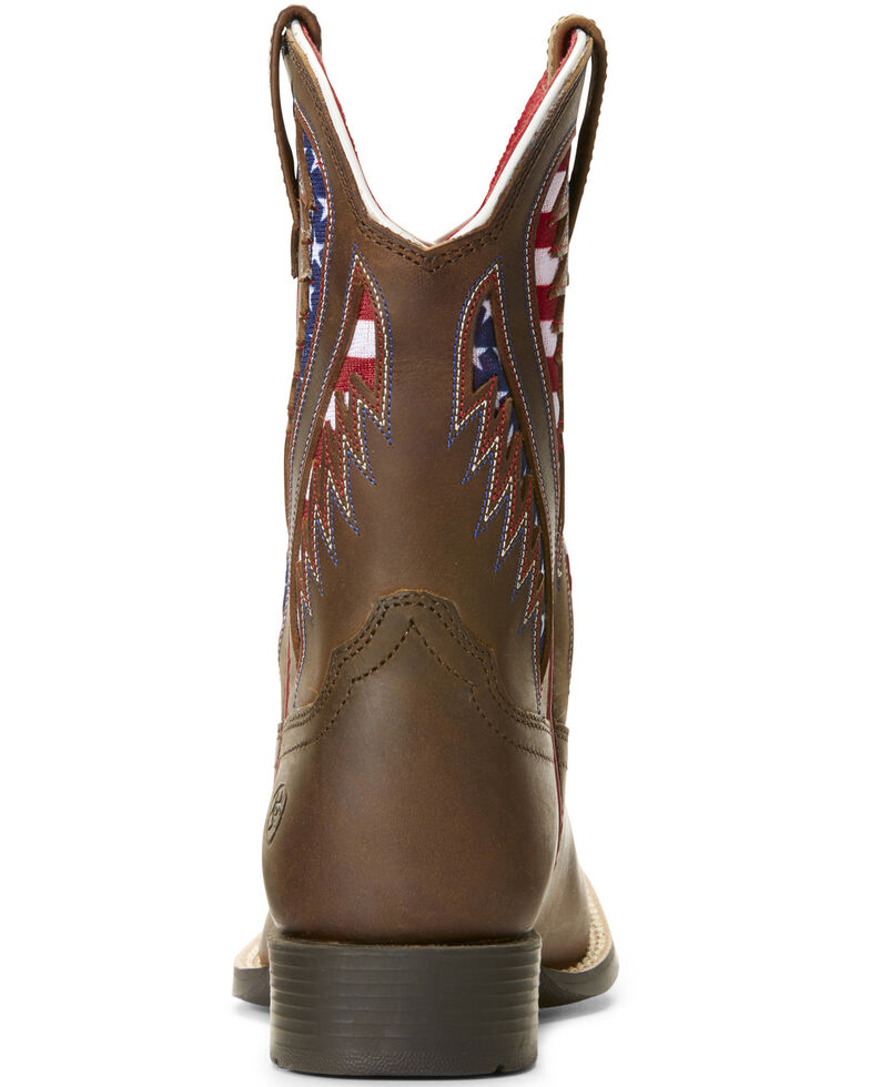 Ariat Youth Boys' VentTEK Quickdraw Patriotic Western Boots - Wide Square Toe, Brown, hi-res