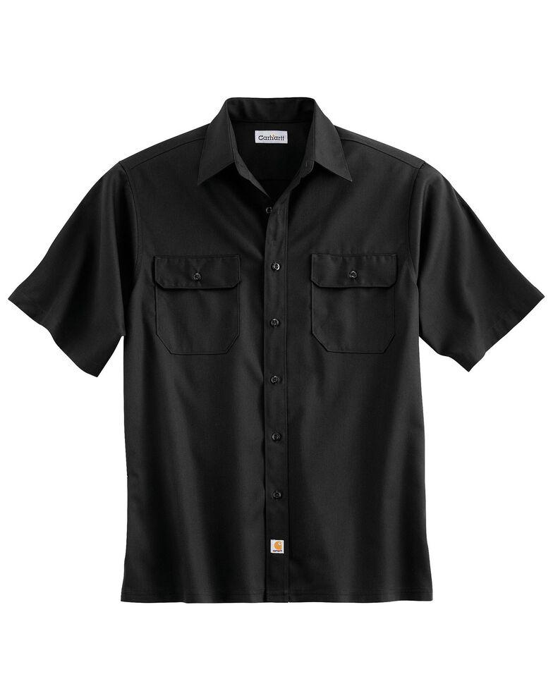 Carhartt Men's Solid Twill Short Sleeve Work Shirt, Black, hi-res
