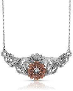 Montana Silversmiths Women's Wildflower Kaleidoscope Necklace, Silver, hi-res