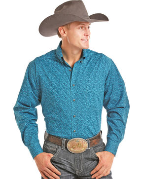 Tuf Cooper Men's Turquoise Printed Long Sleeve Western Shirt , Turquoise, hi-res