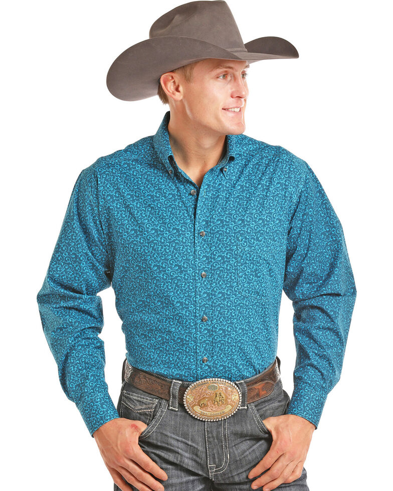 Tuf Cooper Men's Turquoise Geo Print Long Sleeve Western Shirt , Turquoise, hi-res