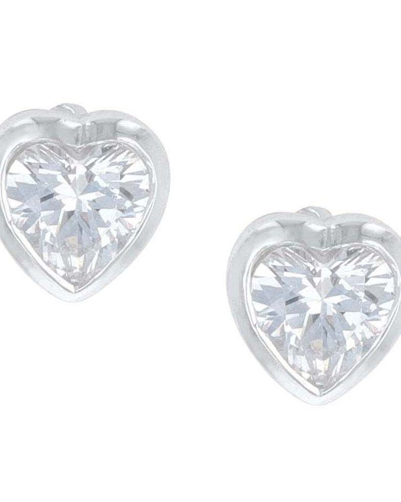 Montana Silversmiths Women's Tiny Heart Crystal Post Earrings, Silver, hi-res