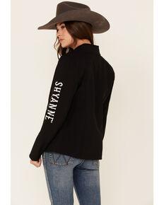 Shyanne Women's Black Logo Sleeve Softshell Bonded Jacket , Black, hi-res