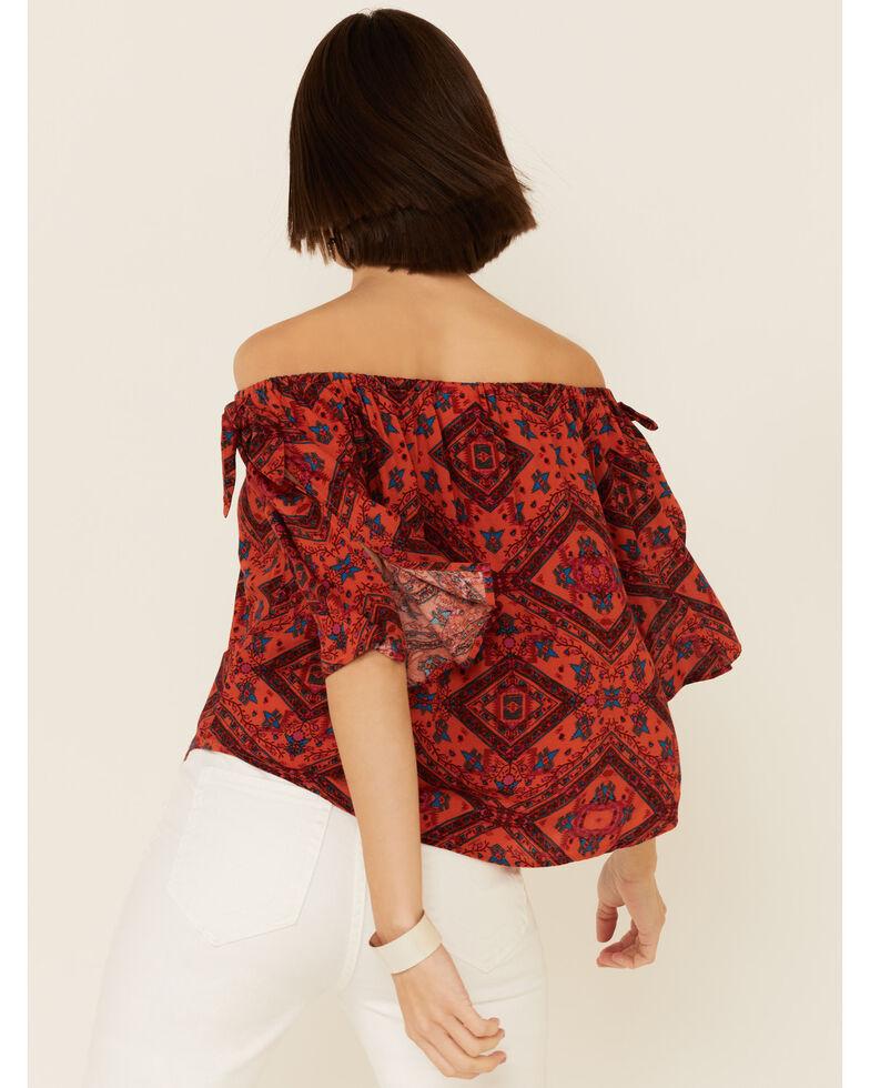 Shyanne Women's Chili Tile Print Tie Sleeve Off-Shoulder Top , Chilli, hi-res