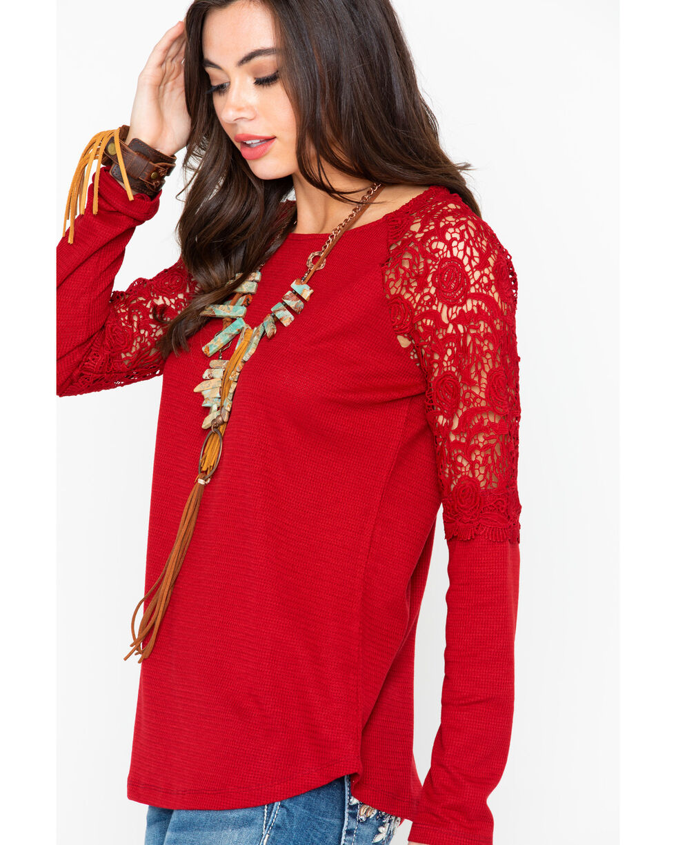 Cowgirl Up Women's Lace Shoulders Long Sleeve Top, Red, hi-res