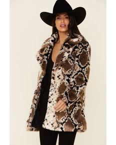 Angie Women's Faux Fur Snake Print Long Coat , Python, hi-res