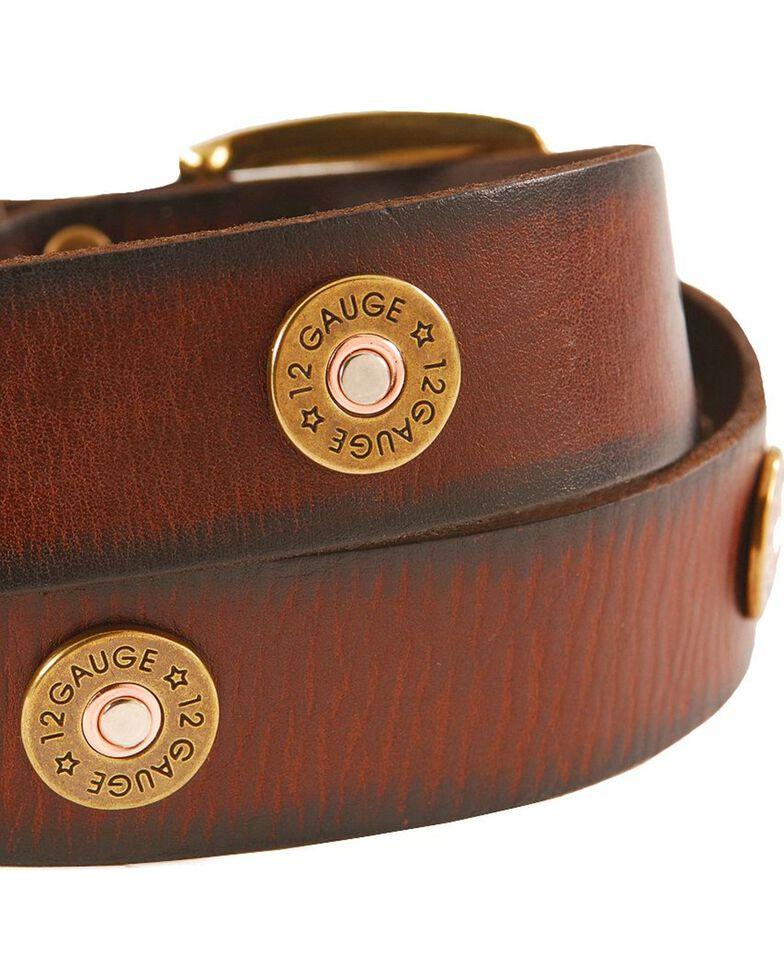 Nocona Gun Shell Cap Leather Belt - Reg & Big, Brown, hi-res