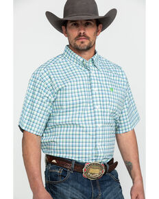 Cinch Men's Cream Med Plaid Short Sleeve Western Shirt , Cream, hi-res