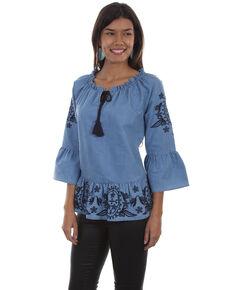 Honey Creek by Scully Women's Denim Peplum Long Sleeve Blouse, Blue, hi-res