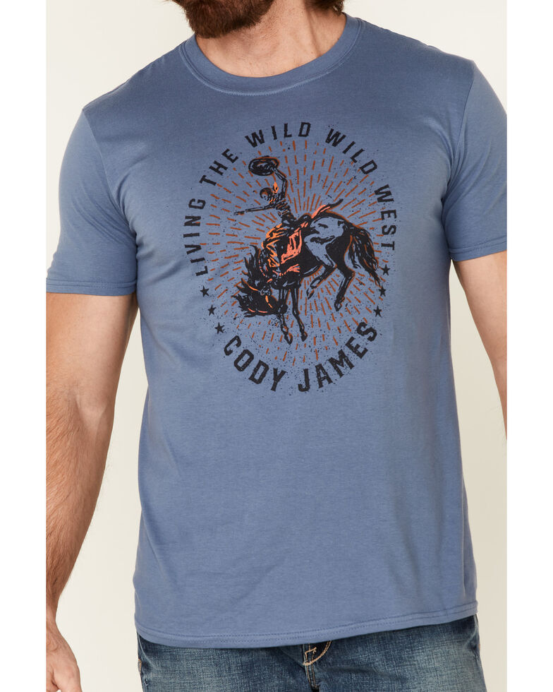 Cody James Men's Livin The Wild West Graphic Short Sleeve T-Shirt , Blue, hi-res