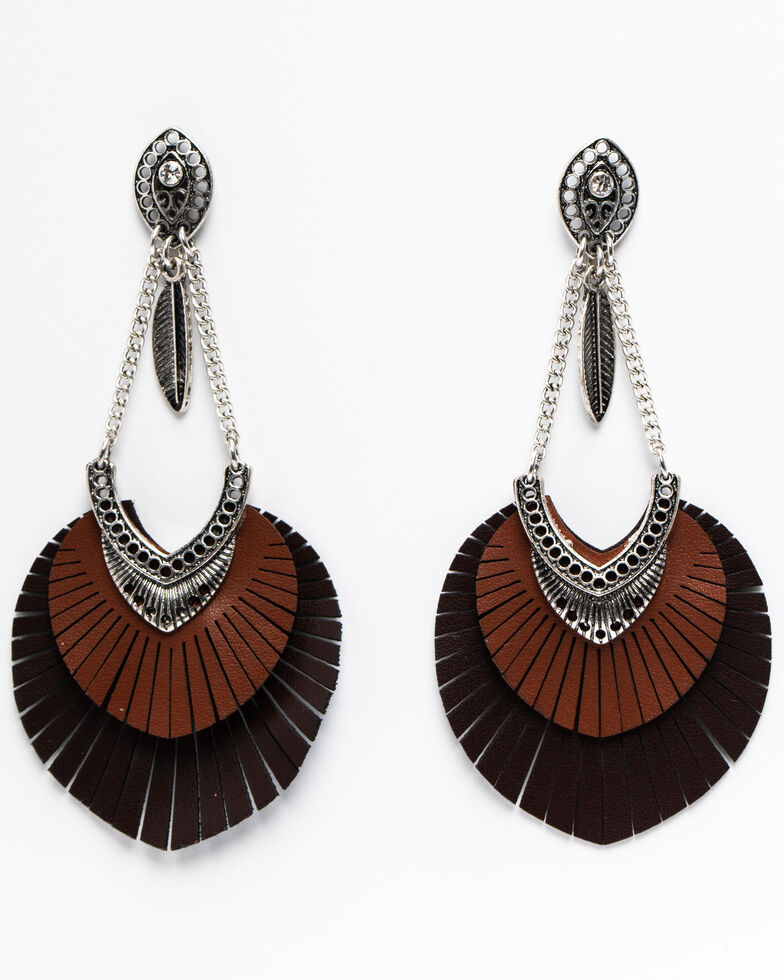 Shyanne Women's Summer Escape Oscillating Feather Charm Earrings, Silver, hi-res