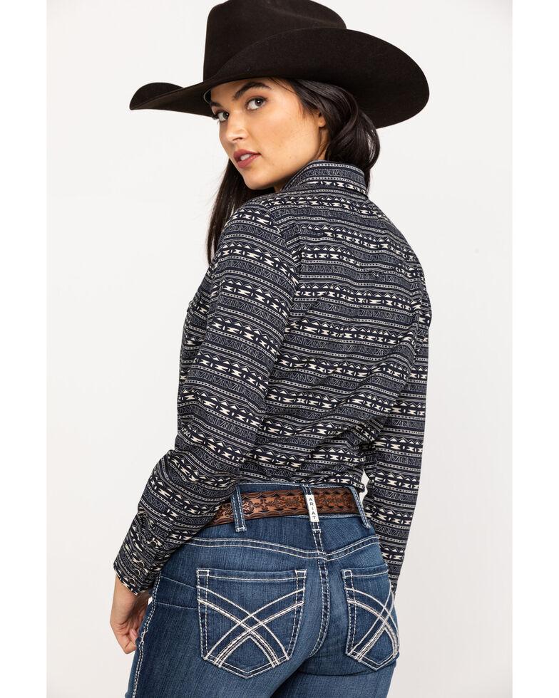 Roper Women's Black Aztec Print Long Sleeve Western Shirt, Black, hi-res