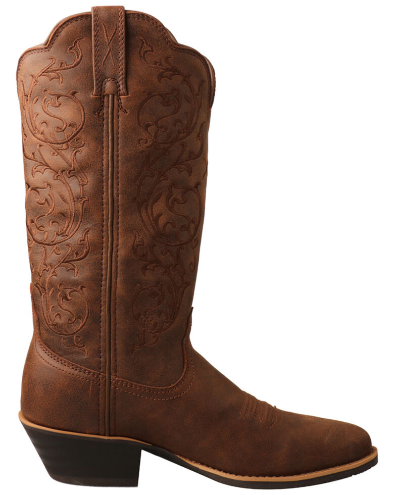 Twisted X Women's Tooled Shaft Western Boots - Round Toe, Brown, hi-res