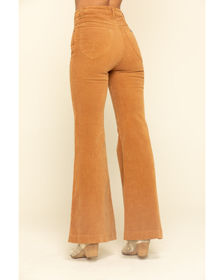 Rolla's Women's Tan Corduroy Flare Jeans, Tan, hi-res
