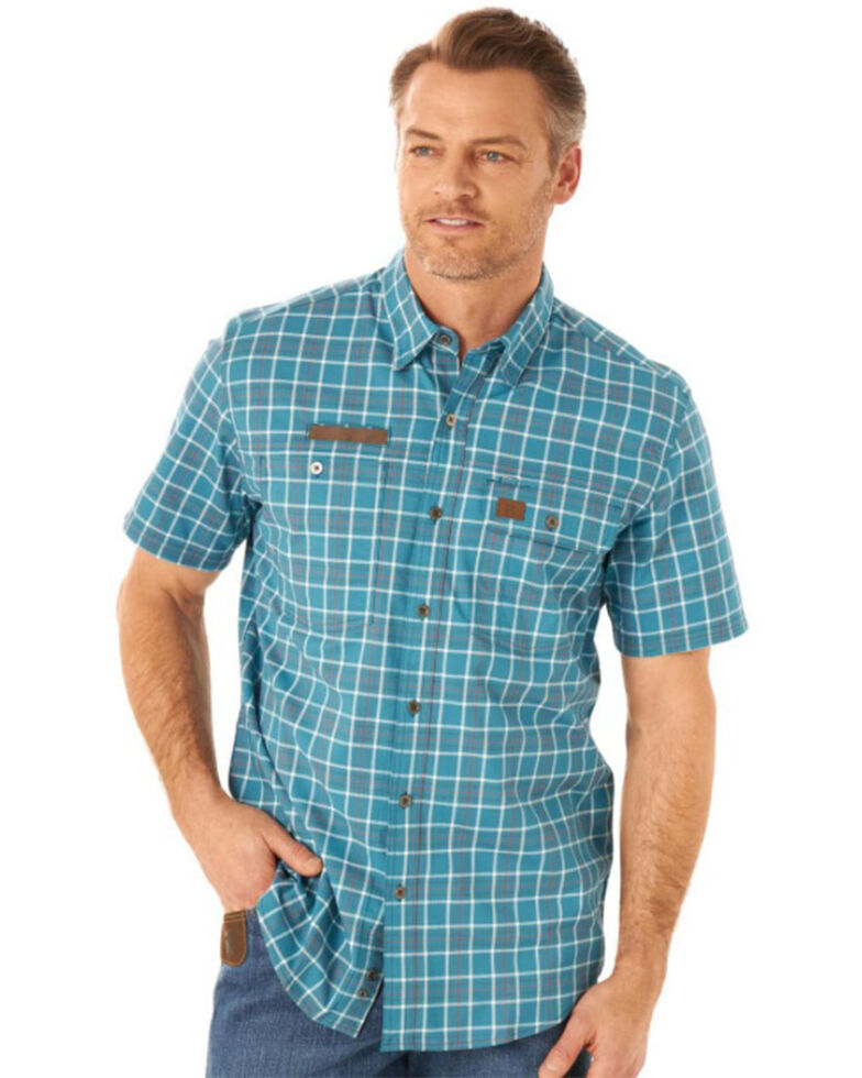 Wrangler Riggs Men's Blue Small Plaid Vented Short Sleeve Button-Down Work Shirt - Tall , Blue, hi-res