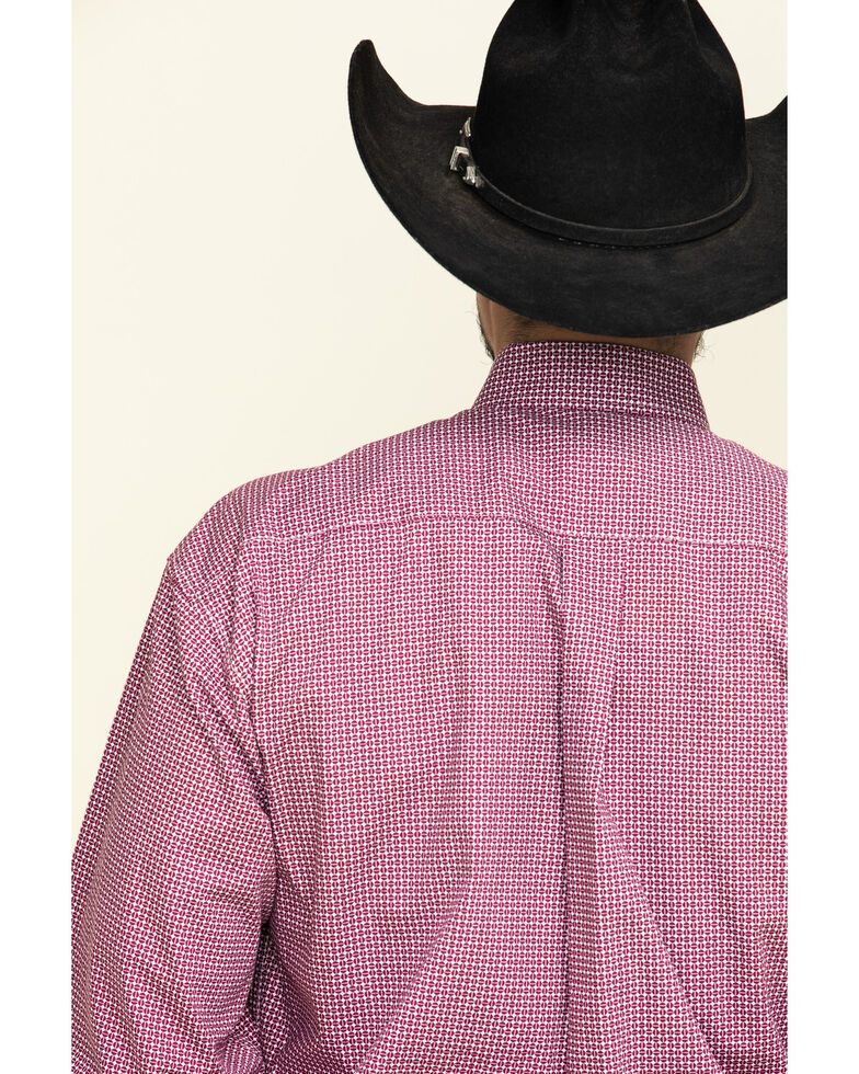 Stetson Men's Coffee Bean Geo Print Button Long Sleeve Western Shirt , Red, hi-res
