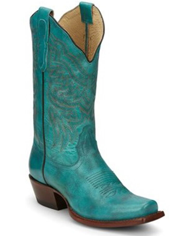 Cowgirl Posh Women's Turquoise Jessy Cowhide Leather Western Fashion Boot - Snip Toe, , hi-res