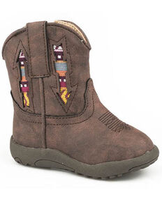 Roper Toddler Boys' Aztec Arrow Western Boots - Round Toe, Brown, hi-res