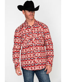 Rock & Roll Cowboy Men's Distressed Aztec Print Long Sleeve Western Shirt , Red, hi-res